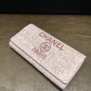 シャネル ドーヴィル 二つ折り長財布 ピンク A81976 27番