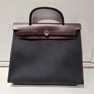 エールバッグジップPM ブラック ブラウン トワルオフィシエ ヴァッシュハンター シルバー金具 □M刻印